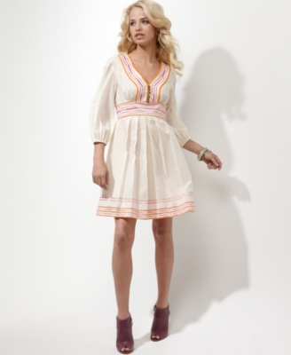 Jessica Simpson Dress, Three-Quarter Sleeve Embroidered Peasant