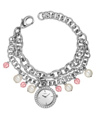 GUESS Watch, Women's Arabesque Silvertone Charm Bracelet U95124L1