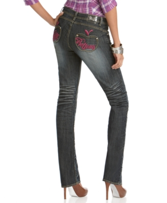 Apple Bottoms Jeans, Embroidered Straight Leg