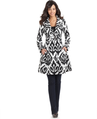 XOXO Coat, Margo Printed Fit & Flare Trench