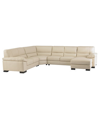 Spencer leather 4 piece sectional sofa one arm loveseat for Flexsteel 4 piece sectional sofa with right arm facing chaise in brown