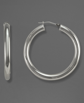 14k White Gold Earrings, Polished Hoops