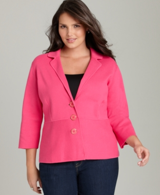 Jones New York Signature Plus Size Sweater, Notched Collar Cardigan