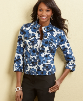 Charter Club Jacket, Three Quarter Tab Sleeve Floral