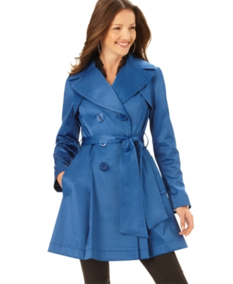 Jessica Simpson Coat, Trenchcoat With Pleated Bottom