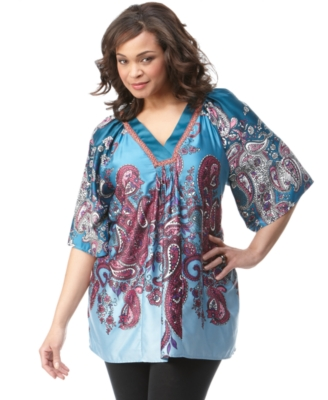 NY Collection Plus Size Top, Kimono Sleeve Paisley Print