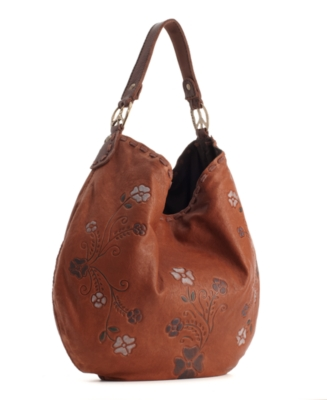 Lucky Brand Jeans Handbag, Brown Sugar Embossed Hobo - Leather Hobo Bag