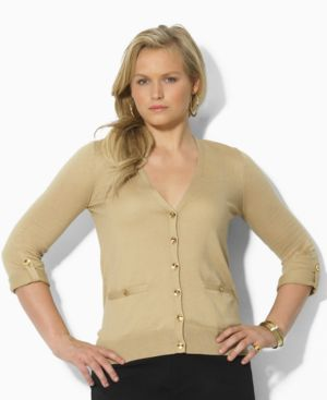 Lauren by Ralph Lauren Plus Size Sweater, Josip Three-Quarter Sleeve Cardigan