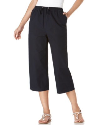 Karen Scott Petite Pants, Washed Twill Capri