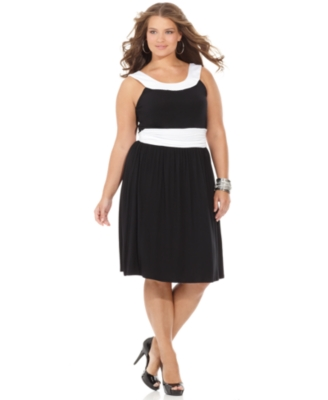 Necessary Objects Plus Size Dress, Sleeveless Colorblocked