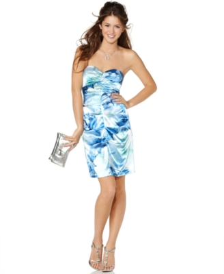 Jump Prom Dress, Strapless Satin Watercolor Print