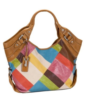 Fossil Handbag, Maddox Patchwork Fashion Satchel