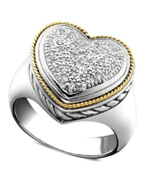 18k Gold and Sterling Silver Ring, Diamond Heart (1/5 ct. t.w.)
