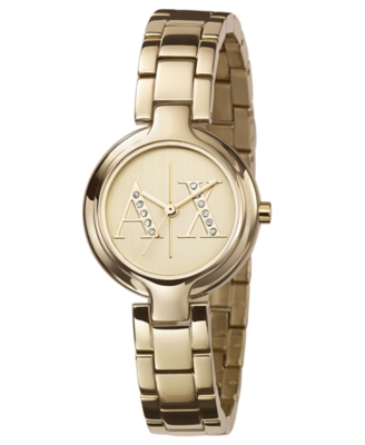 AX Armani Exchange Watch, Women's Goldtone Stainless Steel Bracelet AX4062