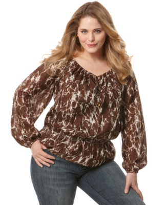 MICHAEL Michael Kors Plus Size Top, Long Sleeve Printed Silk Peasant
