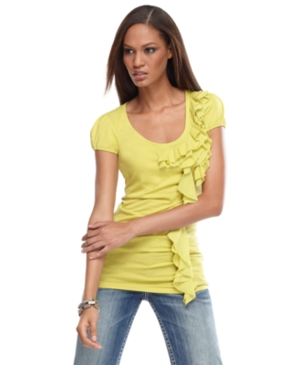 INC International Concepts Top, Short Sleeve Ruffle Top