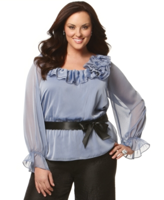 Adrianna Papell Plus Size Shirt, Long Sleeve Ruffle