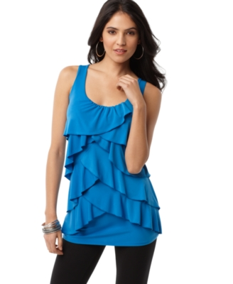 AGB Top, Sleeveless Tiered Ruffle Scoopneck