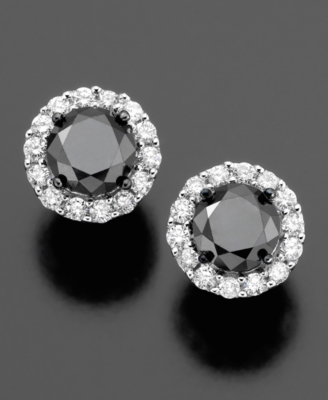 14k White Gold Earrings, Black and White Diamond Studs (3 ct. t.w.)