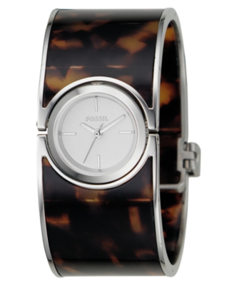Fossil Watch, Women's Stainless Steel and Tortoise Plastic Bangle Bracelet ES2486
