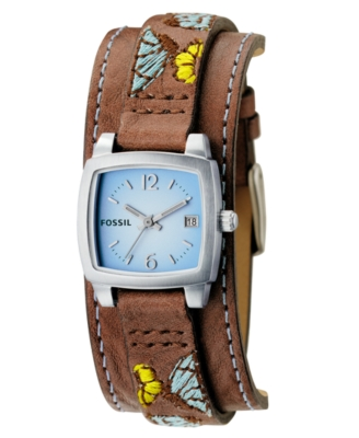 Fossil Watch, Women's Brown Embroidered Leather Strap JR1112
