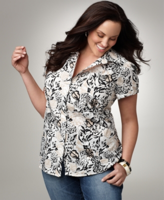 Alfani Plus Size Shirt, Floral Print Button Down
