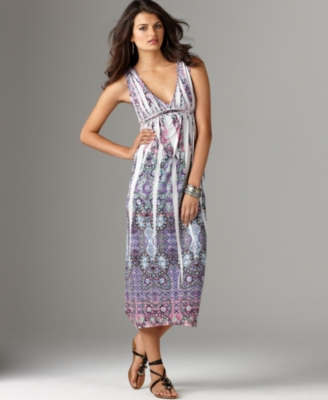 One World Dress, Sleeveless V-neck Sublimation Maxi