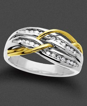 Sterling Silver and 14k Gold Ring, Diamond (1/5 ct. t.w.)