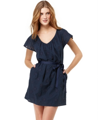 Jump Casual Dress, Floral Eyelet Ribbon Tie V Neck