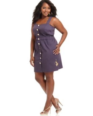 Baby Phat Plus Size Dress, Sleeveless Button Front Sundress