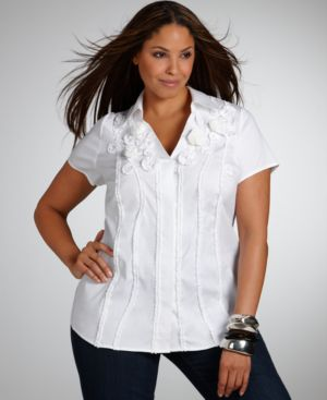 Alfani Plus Size Shirt, Applique Flowers