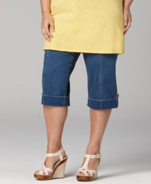 Style&co. Plus Size Pants, Tab Cuff Denim Capri