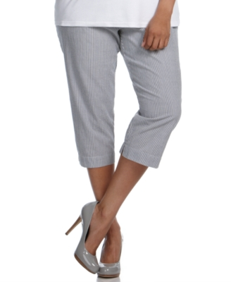 Karen Scott Plus Size Pants, Seersucker Drawstring Capri