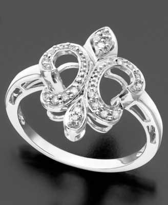 14k White Gold Ring, Diamond Fleur de Lis (1/10 ct. t.w.)