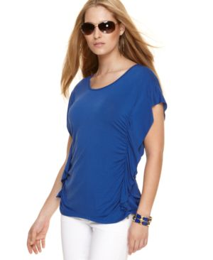MICHAEL Michael Kors Top, Ruffled Side Short Sleeve