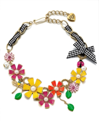 Betsey Johnson Necklace, Muticolored Flower