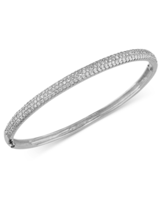 14k White Gold Bracelet, Pave Diamond Bangle (1-1/5 ct t.w.)