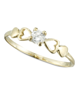 Children's 14k Gold Ring, Cubic Zirconia Accent Heart