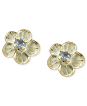 Children's 14k Gold Earrings, Blue Flower