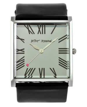 Betsey Johnson Watch, Women's Black Leather Strap BJ2158