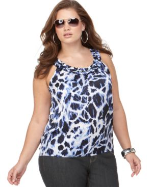 MICHAEL Michael Kors Plus Size Top, Sleeveless Printed Silk