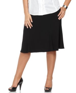 Elementz Plus Size Skirt, Flared Knee Length Knit