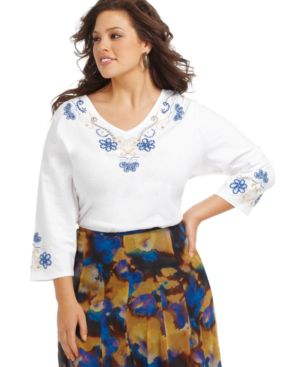 Charter Club Plus Size Top, Three-Quarter Sleeve Embroidered Tunic - Tops