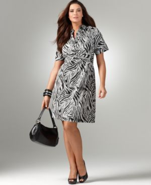 Alfani Plus Size Dress, Short Sleeve Stretch Cotton Zebra Print