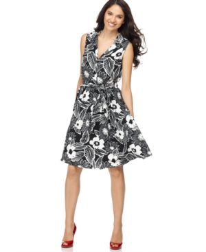 Elementz Dress, Sleeveless Etched Floral Shirtdress
