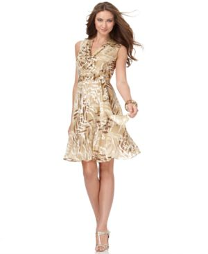 Jones New York Dress, Sleeveless Burnout Animal Print