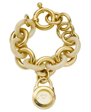 MICHAEL Michael Kors Watch, Women's Goldtone and Horn Acrylic Charm Bracelet