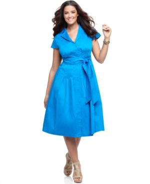 Jones New York Plus Size Dress, Cap Sleeve Pleated Shirtdress