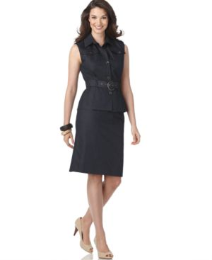 Calvin Klein Suit, Sleeveless Denim Style Top & Skirt - Suits