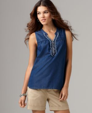 DKNY Jeans Top, Sleeveless Jewel Front